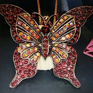 Betsey Johnson large red rhinestone butterfly